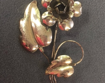 Handmade Retro 1940's Sterling Silver Flower Brooch-as is.  Free shipping