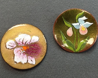 Two Handmade Enamel on Copper Brooches-Orchids.  Free shipping