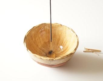 Large Incense Holder, Beige Incense Burner, Ceramic Ash Catcher, Aromatherapy