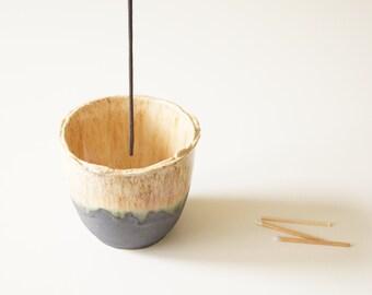 Ceramic Incense Holder, Beige Incense Burner, Gift for Him