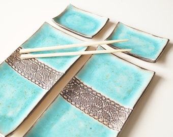 Turquoise Sushi Serving Set, Ceramic Sushi Dishes, Serving Sushi Tray, Ceramics and Pottery