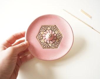 Pink Incense Burner, Ceramic Incense Holder, Meditation, Gift for Her