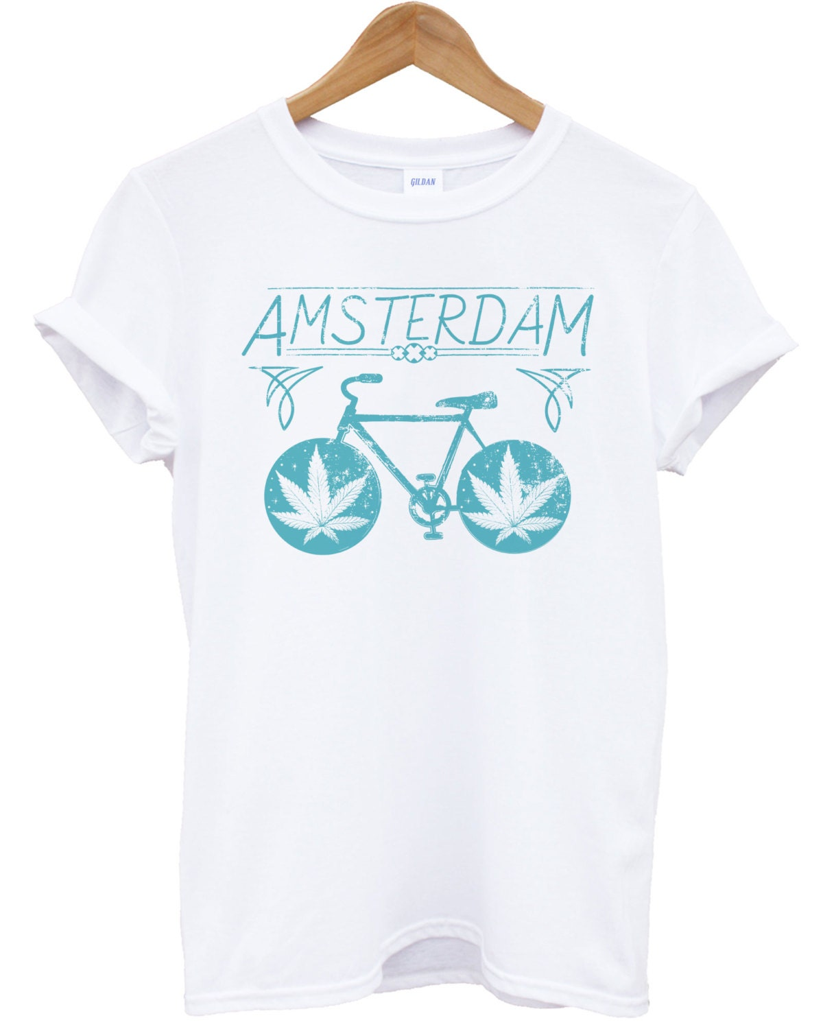 Amsterdam Weed Dope T-shirt Hipster Dope Weed Swag Puff Cannabis Ganja de Fun Party rétro dessus de vélo fc0382
