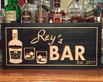 Personalized Bar Signs Wooden Carved Signs Man Cave Sign Home Bar Shot Glasses Scotch Whiskey Custom Wood Sign Free Shipping