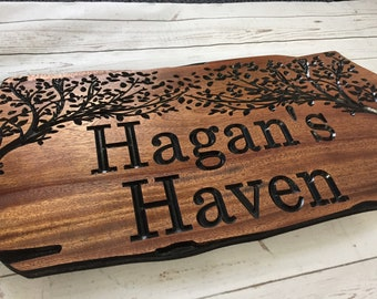 Custom Wood Signs, Outdoor Wooden Sign, Personalized Sign, Carved Wood Signs, Wooden Name Signs, Camping Signs, Treehouse, Benchmark Signs