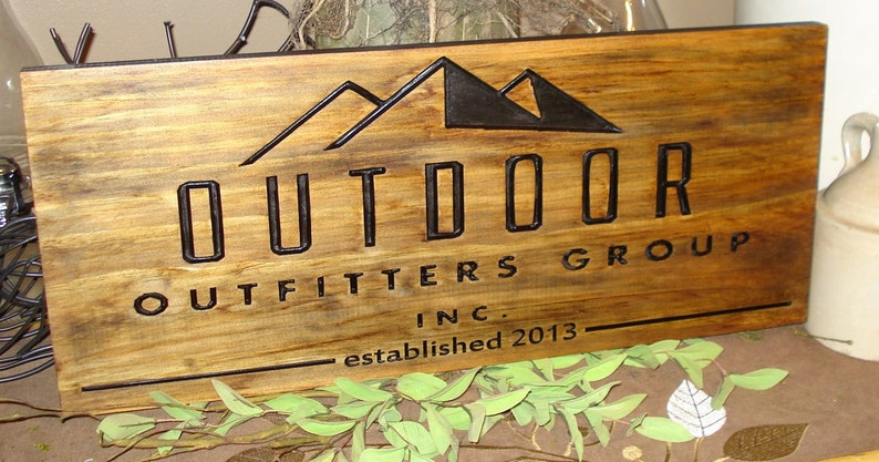 Carved Wooden Sign Craft Show Displays Business Logos image 0