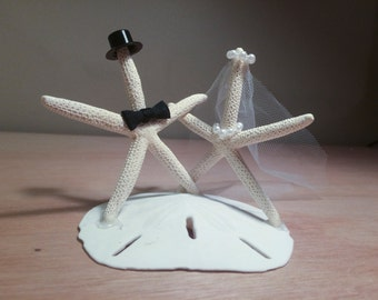 Bride and Groom Starfish Wedding Cake Topper | Wedding Cake Topper | Starfish Cake Topper | Beach Wedding Caketopper