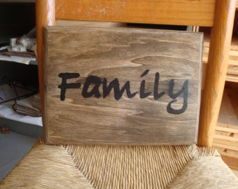 """Hand Painted Wood Sign """" Family"""""""