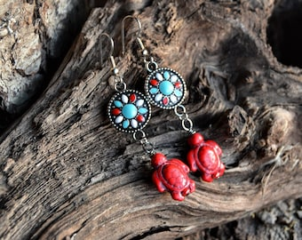 Turtle Earrings, Red Stone Turtle Dangle Earrings, Handmade Turtle Jewelry, Gifts for her from The Hidden Meadow