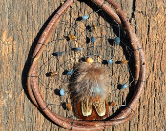 Natural Dreamcatcher, Native American, Earthy Rustic Wood Wall Window Hanging, Blue Decor, Home Cabin Lodge ornaments from The Hidden Meadow