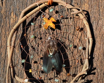 Natural Wood Dreamcatcher, Rustic, Native American Wall Hanging, Earthy Window Decoration, Gemstone,Wooden Home Decor from The Hidden Meadow