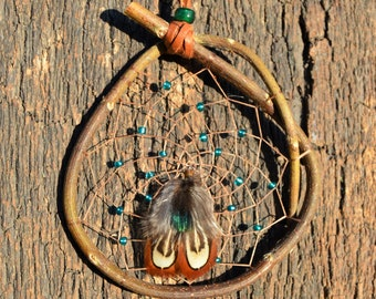 Small Green Dreamcatcher, Native American, Natural Rustic Wall Hanging, Green Ornaments, Wooden, Earthy Window Decor from The Hidden Meadow