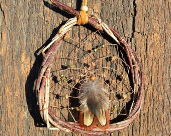 Natural Dreamcatcher, Native American, Earthy Unakite  Wall Window Hanging, Ornaments, Hand Woven, Rustic Home Decor from The Hidden Meadow