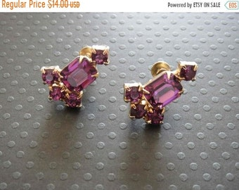 b499fe398 SALE CORO Amethyst Purple Octagon and Chaton Rhinestone Gold Tone Screw  Back Earrings - Signed