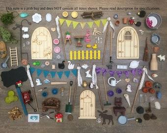 DIY Fairy Garden Accessories Grab Bag, Kids craft, Fairy Garden Kit, Fairy Garden Party Gift, Garden Party Favor.