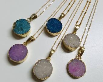 Gold Druzy Necklace, Druzy Pendant, Healing Crystals, Gold Filled Chain, Raw Crystals, Druzy Necklace, Gem Drop Necklace, Bridesmaid Gift