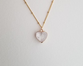 Crystal Heart Necklace, Rose Quartz Necklace, Raw Quartz Necklace, Healing Stone, Crystal Necklace, Bridesmaid Gift, Natural, Raw Crystal