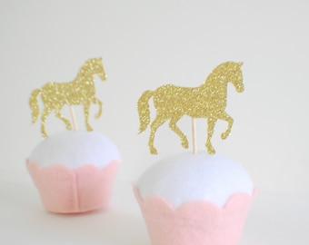 horse cupcake topper, horse cake topper, horse party, horse party decor, farm party
