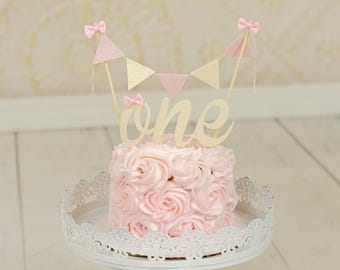 One Cake Topper, First birthday cake topper, ONE Smash Cake Set (Cake Topper and banner) Blush and Creme cake topper, smash cake topper