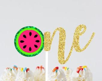 Watermelon Cake Topper, One cake topper, summer cake topper, summer party, Melon cake topper, Watermelon party, First birthday cake topper