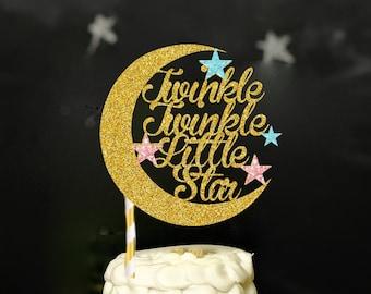 Twinkle twinkle little Star Cake Topper, first birthday cake topper,smashcake topper, baby shower cake topper, gender reveal cake topper,