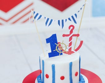 Nautical cake topper, nautical party, anchor cake topper, nautical smash cake topper, anchors away party, sailor cake topper, sailor party