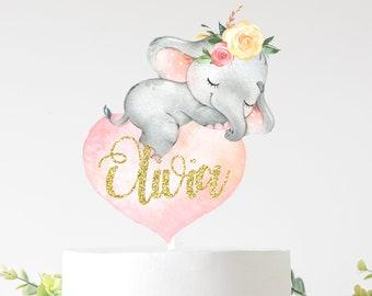 Elephant cake topper, Sleeping elephant  cake topper, cake topper, babyshower cake topper, smashcake topper, birthday cake topper,