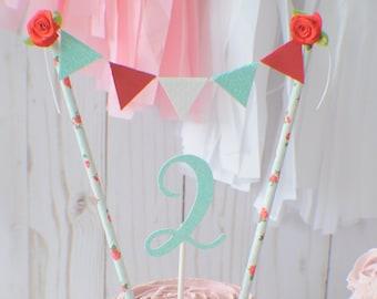 Vintage Cake Topper, Roses Cake Topper, Tea party Cake Topper, Cottage chic Cake Topper, birthday cke topper, smash cake topper