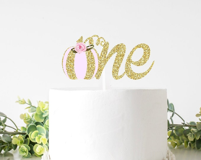 Featured listing image: Pink Pumpkin Cake Topper, One Cake topper, Pink and gold pumpkin cake topper, Pink pumpkin cake topper, gold pumpkin cake topper
