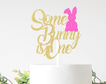 Some bunny is one cake topper, Bunny Face Cake Topper, Easter cake topper, smash cake topper, easter bunny cake topper, bunny cake topper