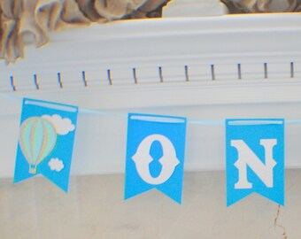 hot air balloon banner, balloon banner, hot air balloon party, baby shower, babyshower cake topper