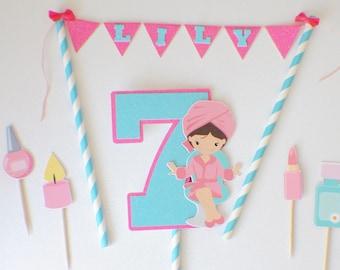 Spa Cake topper, Spa cake topper set, Spa party, Spa party decor, cake topper for girl
