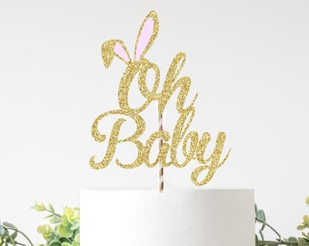 Oh baby cake topper, baby shower cake topper, new baby cake topper, hot air balloon cake topper, baby shower, bunny cake topper, bunny ear