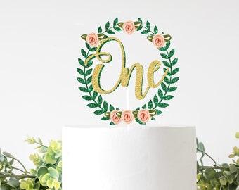 Wreath Cake Topper, One cake topper, Spring cake topper, easter cake topper, first birthday cake topper