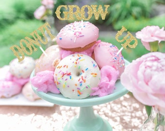 Donut grow up cake topper, donut grow up party, donut cupcake topper, donut topper, donut smashcake , donut smashcake topper