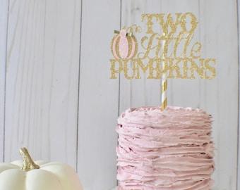 Two Little pumpkins cake topper, pink pumpkin cake topper, Pink pumkin party, Little pumpkin party, gold pumkin cake topper, pumpkin cake