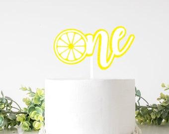 Lemon cake topper, one cake topper, lemonade cake Topper, Smash Cake Topper, First Birthday Cake Topper, lemonade party