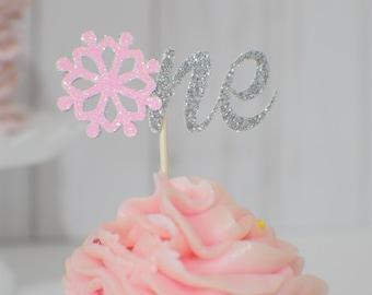 snowflake cupcake topper, One snowflake cupcake tpper, winter wonderland cupcake topper, first birthday cupcake topper