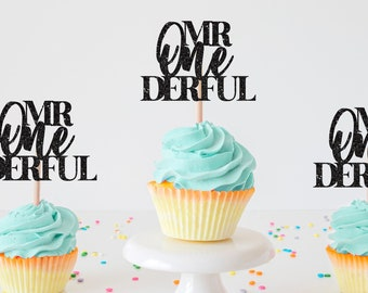 Mr. onederful cupcake topper, one-derful cupcake topper, onederful cupcake topper, one cupcake topper, first birthday cupcake topper