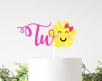 Sunshine Cake Topper, sun two cake topper, summer cake topper, summer party, Sun cake topper, sunshine party, second birthday cake topper