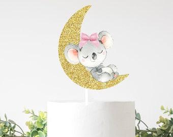 Koala cake topper, Koala topper, Koala party, Moon cake topper, babyshower, smashcake topper, birthday cake topper