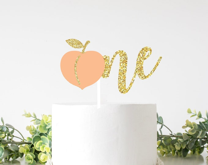 Featured listing image: Peach one cake topper, sweet as a peach cake topper, Georgia cake topper, Southern girl cake topper, smashcake topper, birthday cake topper