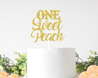 One sweet Peach cake topper, sweet as a peach cake topper, Georgia cake topper, Southern cake topper, smashcake topper, birthday cake topper