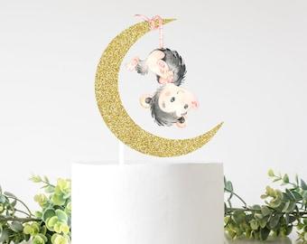 Opossum cake topper, opossum topper, Opossum party, Moon cake topper, cake topper, babyshower, smashcake topper, birthday cake topper