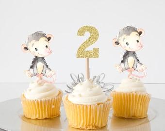 Opossum cupcake topper, opossum topper, Opossum party, cupcake topper, babyshower, smashcake topper, birthday cake topper, cupcake