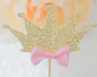 Princess Cupcake Topper, princess party, party decor, tiara cupcake topper, crown cupcake topper