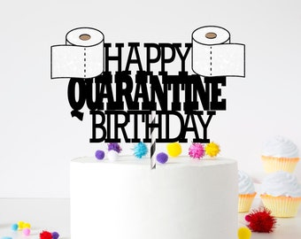 Quarantine birthday cake topper, Toilet paper cake topper, Custom Cake Topper, birthday cake topper, Quarantine birthday