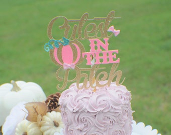 Pumpkin Cake Topper, Halloween Cake topper, Pink and gold pumpkin cake topper, Pink pumpkin cake topper, gold pumpkin cake topper