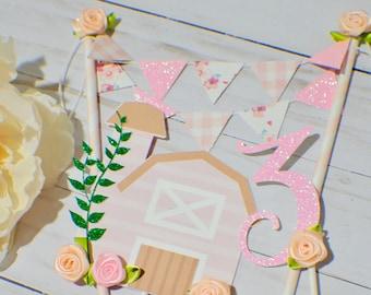Barnyard caketopper, girl barnyard cake topper, pink barnyard cake topper, cowgirl cake topper, watercolor farm cake topper