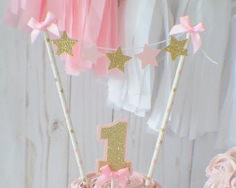 One Cake Topper, First birthday cake topper, ONE Smash Cake Set, star cake topper, twinkle twinkle little star cake topper